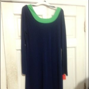 Isaac Mizrahi designer dress in navy and kelly gen